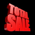Total sale d letters render isolated on black background Stock Photo