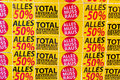 Total sales in a store feschäft is closed a Stock Images