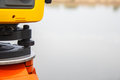 The total station geodetic and topography measuring tool Stock Photography