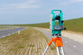 Total station or theodolite a moderne on a tripod Stock Photography