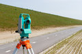 Total station or theodolite a moderne on a tripod Stock Image