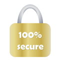 Totally secure padlock golden with one hundred on it in white background Royalty Free Stock Images