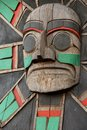 Totem pole a detail of a on vancouver island british colombia canada Royalty Free Stock Images
