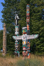 Totem Poles at Brockton Point in Stanley Park, Vancouver, Canada Royalty Free Stock Photo