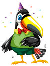 Toucan bird wearing party hat