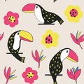 Toucan floral pattern