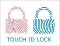 Touch fingerprint id lock app vector illustration Royalty Free Stock Photo