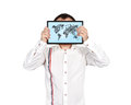 Touch pad with  world map Royalty Free Stock Photo