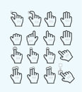 Touch screen gesture hand icons Stock Photo
