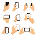 Touch screen hand gestures design elements of swipe pinch and tap isolated vector illustration Royalty Free Stock Images