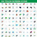 100 touch screen icons set, cartoon style
