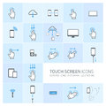 Touch screen icons set with hands and gestures vector squares illustration typography pictograms of fingers phones tablets other Royalty Free Stock Image