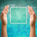Touch screen interface on Woman hand Royalty Free Stock Images