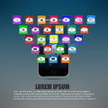 Touch screen mobile phone with colorful application icons Royalty Free Stock Images