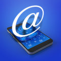 Touch screen mobile phone with email icons virtual mail symbol a Royalty Free Stock Images