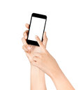 Touch screen mobile phone in hand a Stock Photography