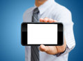 Touch screen mobile phone in hand male Royalty Free Stock Photography
