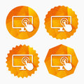 Touch screen monitor sign icon. Hand pointer. Royalty Free Stock Photo