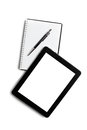 Touch tablet blank notebook white background Royalty Free Stock Photo