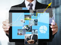 Touch tablet in hands screen Stock Photography