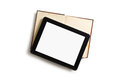 Touch tablet old book white background Royalty Free Stock Photography
