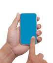 Touching on Smart phone Stock Images