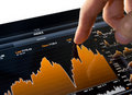 Touching Stock Market Chart Stock Images
