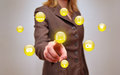 Touchscreen busineswoman pressing virtual media type of buttons Royalty Free Stock Photos