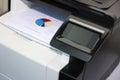 Touchscreen control panel of modern printer Royalty Free Stock Photo