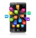 Touchscreen smartphone with application icons Stock Photo