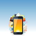 Touchscreen smartphone with cloud of apps icons application vector technology background Royalty Free Stock Photography