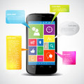 Touchscreen smartphone with colorful icons Royalty Free Stock Images