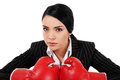 Tough businesswoman stock image of with boxing gloves isolated on white background Stock Photo