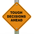 Tough decisions ahead road sign Royalty Free Stock Photography