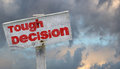 Tough decison decision concept on stormy clouds Stock Image