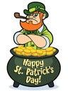 Tough leprechaun in pot of gold Royalty Free Stock Photo