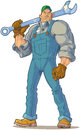 Tough mechanic with wrench vector cartoon clip art illustration of a big looking or engineer or other type of handyman holding a Stock Photos