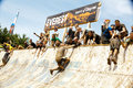 Tough mudder attempting the everest obsticle teams of racers obstacle at competition in mansfield ohio on april a group running Stock Images