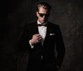 Tough sharp dressed man in black suit Royalty Free Stock Photo