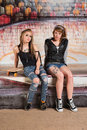 Tough young skateboarders pair of white female gang members Royalty Free Stock Photo