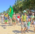 Touists marching in St.Patrick's Day parade, Cabarete, Dominican Republic Royalty Free Stock Photo