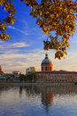 Toulouse city france view of garonne river in center at sunset Royalty Free Stock Images