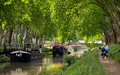 Toulouse three walk along the canal of midi in france Royalty Free Stock Photography