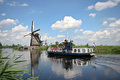 Tour boat at Kinderdijk Royalty Free Stock Photography
