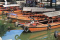 Tour boats in tongli ancient small water town china preserved with traditional canals buildings famous with many rivers and Royalty Free Stock Images