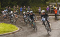 The tour of britain peleton chase a breakaway group on stage in canonbie southern scotland Royalty Free Stock Photo