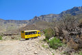 Tour bus climbing at Sani Pass trail between South Africa and Lesotho Royalty Free Stock Photo
