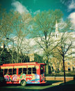 Tour bus in front of Christ Church in Philadelphia Stock Images