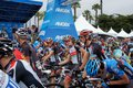 Tour of california matthew busche bob jungels and andy schleck at the amgen at the starting line in santa barbara Stock Images