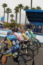 Tour of california riders from saxo tinkoff cannondale teams at the amgen at the starting line in santa barbara Royalty Free Stock Images